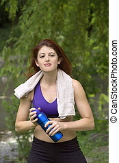 Girl cooling off after workout.