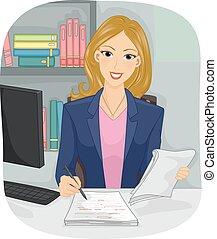 Girl Copy Editor Edit - Illustration of a Female Copy Editor...