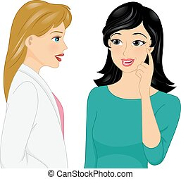 Girl Cosmetic Surgeon Wrinkles - Illustration of a Girl...