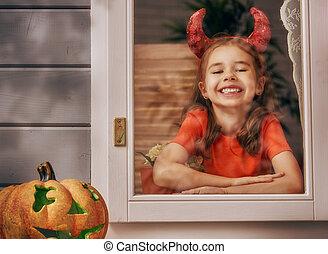 girl, costume diable