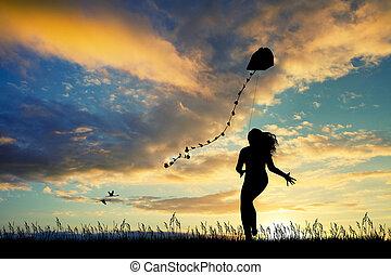girl, coucher soleil, cerf volant, joyeux