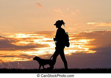girl, coucher soleil, chien