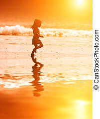 girl, coucher soleil, courant
