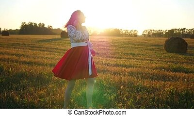girl, coucher soleil, danse