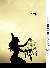 girl, coucher soleil, dreamcatcher