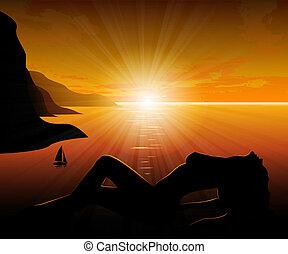 girl, coucher soleil, mer