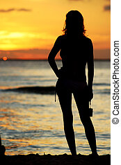 girl, coucher soleil