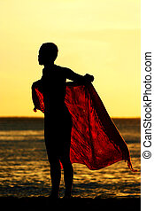 girl, coucher soleil, sarong