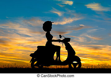 girl, coucher soleil, scooter