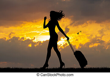 girl, coucher soleil, valise