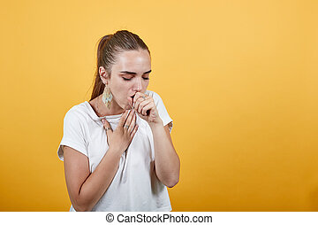 Girl coughing sign of soon getting sick