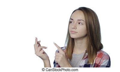 Girl counting fingers - Closeup portrait of casual teen girl...