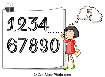 Girl counting numbers on paper illustration