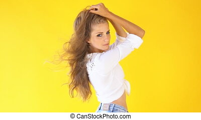 girl country style wind in the hair - beautiful girl posing...