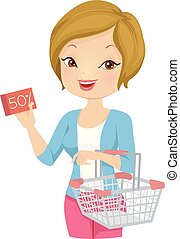Girl Coupon Groceries Illustration