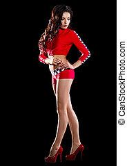 girl, courses, jeune, déguisement, rouges
