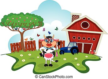 Girl cow cartoon in a farm