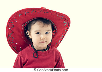 Girl cowboy in a red hat on a white background.