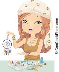 Girl Craft Dream Catcher Illustration