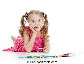 girl, crayons, couleur, dessin, heureux