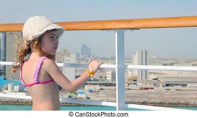 girl, croisière, stands, bateau, pont