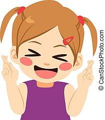 Girl Crossing Fingers - Little girl crossing fingers making...