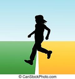 Girl crossing the finish line, concept illustration for new beginning