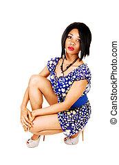 girl., crouching