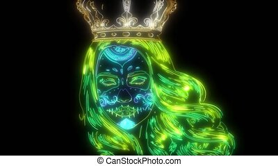 girl, crown., crâne, vidéo, conception