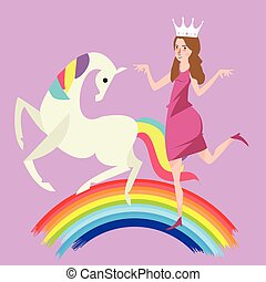 girl crown princess dancing with white horse in rainbow
