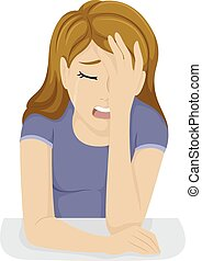 Girl Crying - Illustration of a Teenage Girl Clutching Her...