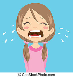 Girl Crying - Lonely and sad little girl crying with...