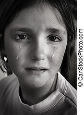 Girl Crying with Tears on Face Cheek Falling