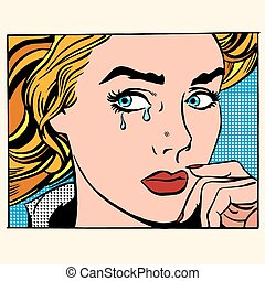 Girl crying woman face
