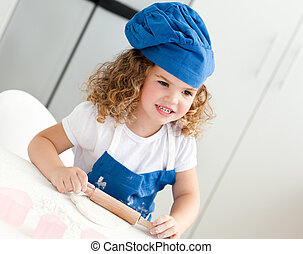 girl, cuisine, cuisson, peu