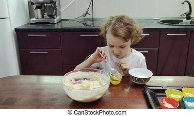 girl, cuisine, petit gâteau, cuisine