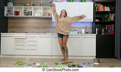 girl, cuisine, tas, rubbish., danse