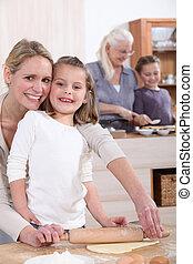 girl, cuisson, jeune, elle, mère