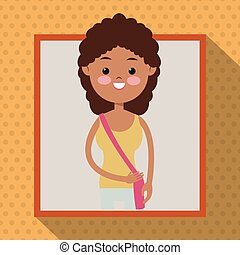 girl curly hair student frame dot shadow background