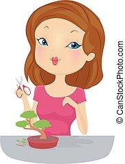 Girl Cut Bonsai - Illustration of a Girl Holding a Cutting ...