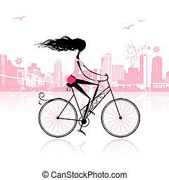 girl, cyclisme, dans ville