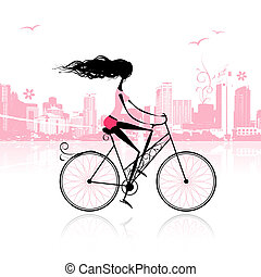 girl, cyclisme, ville