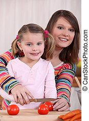 girl, découpage, tomates, mère