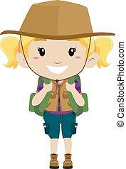 girl, déguisement, camping