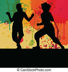 Girl dance silhouette vector color splash background concept