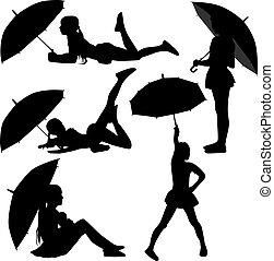 Girl dance with umbrella silhouette vector