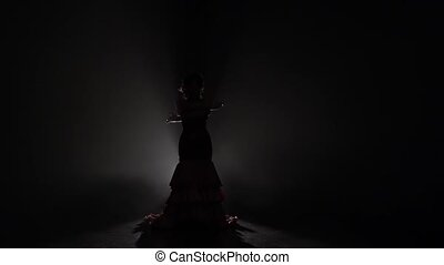 Girl dances flowing movements with her hands. Light from behind. Smoke background. Slow motion. Silhouette