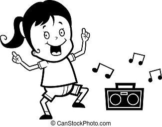 Girl dancing. A happy cartoon girl dancing and smiling.