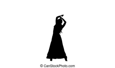 Girl dancing a Spanish dance. White background. Silhouette