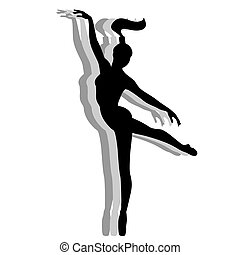 Girl dancing ballet Silhouette isolated